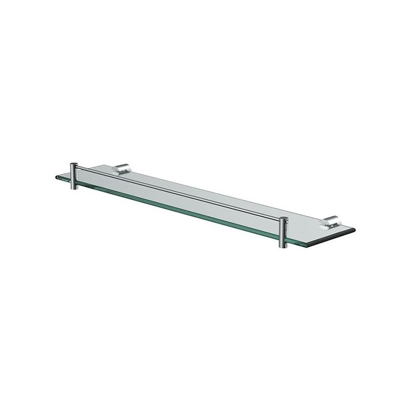 Glass shelf with railing 60 x 12 x 0.5cm