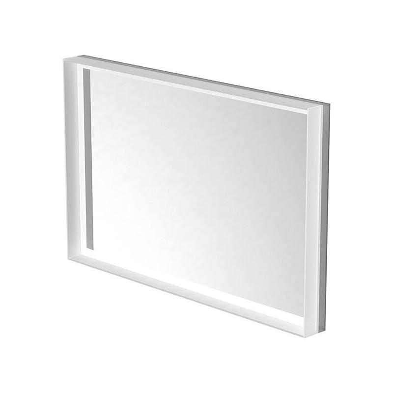 Miroir LED rétro éclairé cadre en verre et antibuée 140 x 90cm