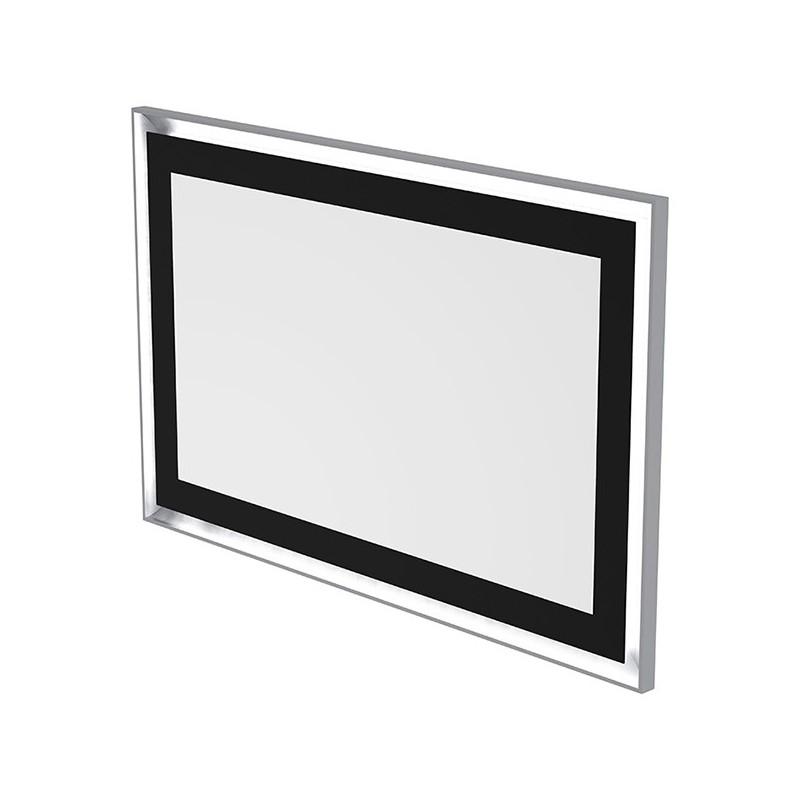 Miroir LED rétro éclairé effet tableau et antibuée 140 x 90cm
